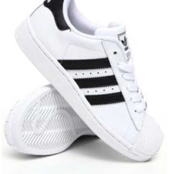Girls Size 2 White Adidas With Black Stripes